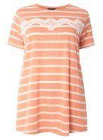 Womens DP Curve Plus Size Coral Lace Trim T-Shirt- Coral