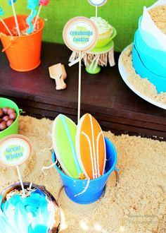 Surfboard cookies at a Summer Luau birthday party! See more party ideas at CatchMyParty.com!