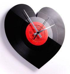 Heart Vinyl Clock, now featured on Fab. Vinyl Record Crafts, Vinyl Art, Old Records, Vinyl Records, Record Clock, Music Clock, Wall Clock Design, Room Paint Colors, Fun Crafts