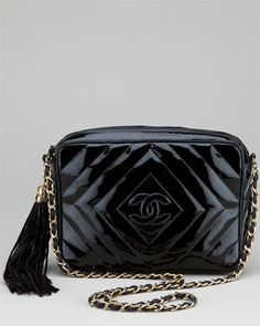 Chanel Black Patent Leather Chevron Quilted Camera Bag