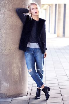 Subdued Black Fluffy Gilet, Subdued Grey Cropped Sweater, Subdued Ripped Boyfriend Jeans, Invito Black Pointed Boots, The Sting Striped T Shirt