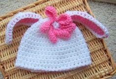 bunny hat crochet for girl size newborn by stitchesbystephann