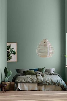 home decor bedroom Modern Earthy Home Decor: Soothing bohemian bedroom with soft pistachio green blue walls and rattan hanging lamp Home Decor Bedroom, Earthy Home Decor, Home Bedroom, Bedroom Interior, Bedroom Design, Bedroom Green, Home Decor, House Interior, Room Interior