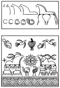 Мезенская роспись Russian Folk Art, Ukrainian Art, Painting Lessons, Art Lessons, Folklore, Tattoo Painting, School Art Projects, Tapestry Design, Zen Art