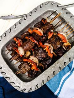 Marinated Beef Kabobs are flavorful, tender, and easy to customize! Includes the bestt type of beef for your kabobs and the best beef marinade! Marinated Beef Kabobs, Beef Kabob Marinade, Beef Kabob Recipes, Grilled Steak Recipes, Grilled Beef, Beef Recipes For Dinner, Grilling Recipes, Steak Marinate, Potluck Recipes
