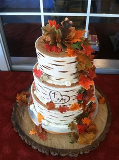 Fall wedding cake — Round Wedding Cakes Robyn: can do leaves, or even deviate a little, but I really like this cake, and the whole birch look.