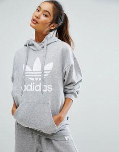 adidas Originals Gray Trefoil Hoodie by adidas. Hoodie by Adidas, Loop-back sweat, Drawstring hood, Dropped shoulders, Over-the-head style, adidas Originals logo pri...