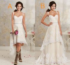 Traditional Wedding Dresses Two Styles Lace Country Wedding Dresses High Low Short Bridal Dresses And Floor Length Multi Layers Garden Bohemian Wedding Gowns Mermaid Style Wedding Dresses From Blissbridal, $136.27| Dhgate.Com