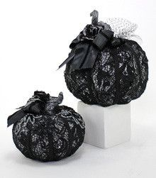 "Lace Display Pumpkins - Katherine's Collection – Black Bow Halloween Shoppe. This Midnight Magic set of pumpkins is ready for your Halloween display!  With gorgeous satin, lace and glitter detail, these pumpkin decorations will never go out of style.  7"" and 9"".  FREE SHIPPING!!"