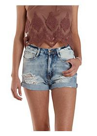 Cuffed & Destroyed High-Waisted Denim Shorts