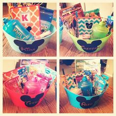 DIY Disney Travel Baskets. Totally making these for my family, since we leave for Disney on Monday! #giftbaskets Disney 2015, Disney Tips, Disney Love, Disney Magic, Walt Disney, Disney Cruise, Disney Stuff, Disney Family, Disney Parks