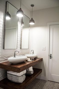 Beauty on a Budget: 6 Chic and Cheap DIY Bathroom Vanity Plans Diy Farmhouse Bathroom Vanity Bathroom Vanity at Lowes, Bathroom Vanity and Linen Cabinet Wanna try this idea soon? Floating Bathroom Vanities, Bathroom Vanity Designs, Floating Vanity, Vanity Bathroom, Bathroom Ideas, Bathroom Organization, Bathroom Cabinets, Wood Vanity, Floating Shelves