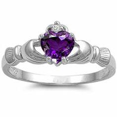Sterling Silver Irish Claddagh Amethyst Colored Cz Heart Ring