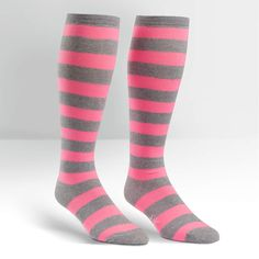 Wide Calf; Fluorescent Pink Stripe | Women's Knee High | Sock It to Me