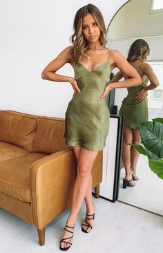 Dorine Satin Mini Dress Khaki – Beginning Boutique Dinner Date Outfits, Bar Outfits, Clubbing Outfits, Date Night Dresses, Vegas Outfits, Concert Outfits, Formal Outfits, Dressy Dresses, Midi Dresses