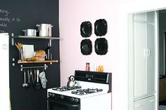 chalkboard wall: kitchen  Might need to somehow tastefully incorporate a chalkboard wall into the kitchen one day...