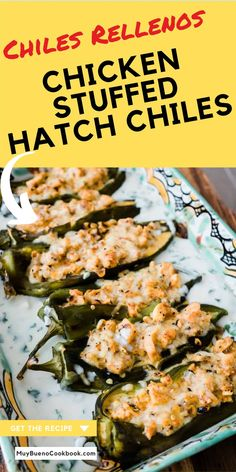 These Chicken Stuffed Hatch Chiles are filled with a spicy Tex-Mex inspired mixture of chicken, corn kernels, and queso Oaxaca in a rich and flavorful cilantro cream sauce. Every bite is an explosion of Mexican flavors. Duck Recipes, New Recipes, Dinner Recipes, Dinner Ideas, Food Dishes, Main Dishes, Food Food, Cilantro Cream Sauces, Easy Chicken Recipes