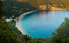 Lichnos bay in Parga with crystal clear blue waters