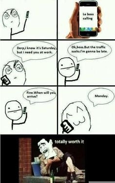 FunnyAnd offers the best funny pictures, memes, comics, quotes, jokes like - Boss Calling Rage Comics Funny, Derp Comics, Best Funny Pictures, Funny Photos, Funny Images, You Funny, Funny Jokes, Funny Stuff, Funny Things