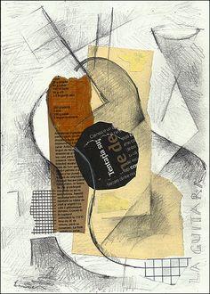 Cubista del collage con la guitarra