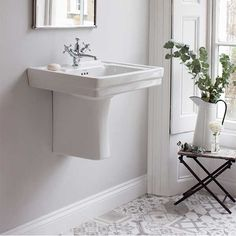 Traditionally designed semi-pedestal basin with a modern twist Comes with your choice of 2 or 3 pre-drilled tap holesBeautiful 3 hole overflow with Burlington brandingExquistely made from vitreous year manufacturer's guarantee Edwardian Bathroom, Victorian Style Bathroom, Modern Vintage Bathroom, Bathroom Furniture, Bathroom Interior, Bathroom Ideas, Cozy Bathroom, Family Bathroom, Bathroom Inspo