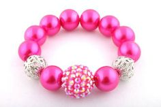 Ladies Fuchsia Pearl Style with 1 Disco Ball & 2 Hollow Balls Shamballah Stretch Bracelet JOTW. $0.01. 100% Satisfaction Guaranteed!. Great Quality Jewelry! Disco Ball, Stretch Bracelets, Balls, Jewelry Bracelets, Pearl, Lady, Style, Swag, Bead