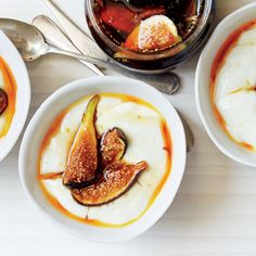 Milk Pudding with Rose Water Caramel and Figs  Almost any fresh fruit (pears, apples, berries) can replace the figs.