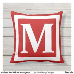 Home Reno, Outdoor Throw Pillows, Monogram Letters, Favorite Color, Red And White, Create Yourself, Lettering, Modern, Gender