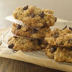 Banana-Oatmeal-Chocolate Chip Cookies: Chocolate chip cookies get a wholesome upgrade when you add a heaping dose of heart-healthy oats and potassium-rich banana. You'll want to cut down on fat, so use soy milk and canola oil instead of whole milk and butter. Get the recipe | Health.com