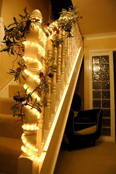 Rope lights ..stunning  I could do this to my railing