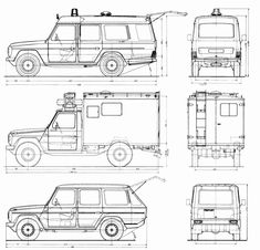 Mercedes-Benz G461 Blueprint - Download free blueprint for 3D modeling