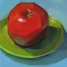 """Daily Paintworks - """"Red Apple on Green Plate"""" - Original Fine Art for Sale - © Robin Rosenthal"""