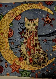 ' Chat et la Lune ' Joan Bosotina Art And Illustration, Illustrations, Cool Cats, Art Fantaisiste, Cat Quilt, Inspiration Art, Moon Art, Cat Drawing, Whimsical Art