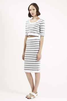 Monochrome Striped Jacquard Skirt - Topshop
