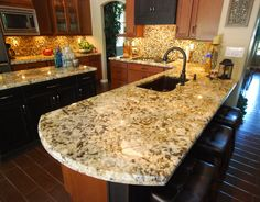 Polished Fantasy Brown Quartzite Kitchen Counters And