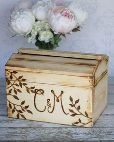 Personalized Card Box Rustic Chic Wedding Decor (item E10592). $130.00, via Etsy.