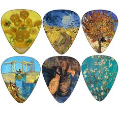 Vincent Van Gogh Guitar Picks - Sunflowers Almond Blossom Shoes Mulberry Tree Fine Art Painting Collection