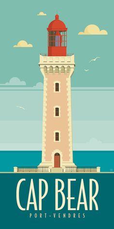 KAKÉMONODÉCO - Illustration du phare du Cap Béar à Port-Vendres dans les Pyrenées-Orientales  - Décor mural en vente sur www.kakemonodeco.com