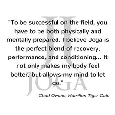 Thanks for the kind words @chadowens2 !#cfl #Joga #football #recovery #conditioning #strength #athlete #yogaforathletes by joga_world
