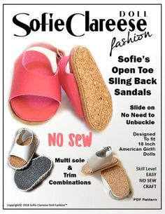 """Sandals Shoes American Girl /& 18/"""" Doll Clogs Flip Flops Many Colors Available"""
