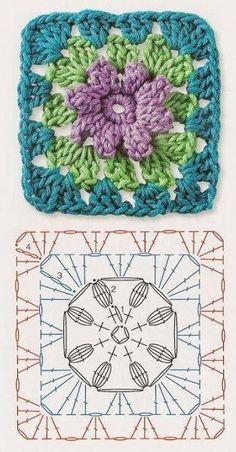 Crochet Granny Square Patterns The Ultimate Granny Square Diagrams Collection. - The Ultimate Granny Square Diagrams Collection. Motifs Granny Square, Crochet Motifs, Granny Square Crochet Pattern, Crochet Blocks, Crochet Diagram, Crochet Chart, Crochet Squares, Love Crochet, Crochet Flowers