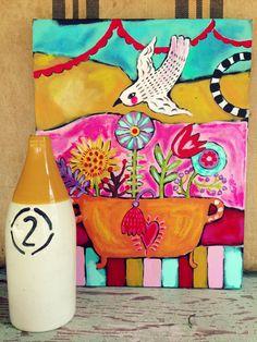 Floral Folk Art on Canvas por evesjulia12 en Etsy