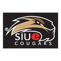Ncaa Southern Illinois University Edwardsville Cougars Logo Black 1 ft. 7 in. x 2 ft. 6 in. Accent Rug