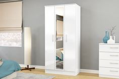 BIRLEA LYNX 3 DOOR WARDROBE WITH MIRROR, WHITE