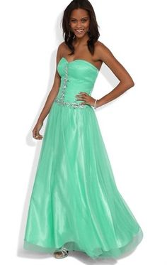 Deb Shops #Mint Glitter Strapless Long #Prom #Dress with Ruched Bodice and Stone Details $179.90