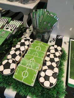 out these awesome soccer inspired cookies! You don't want to miss this fantastic party! See more party ideas and share yours at Soccer Birthday Parties, Football Birthday, Sports Birthday, Sports Party, Soccer Party Favors, Soccer Baby Showers, Soccer Cookies, Soccer Banquet, Party Themes