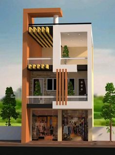 Rescued by Radha Reddy - Architecture 3 Storey House Design, Bungalow House Design, House Front Design, Small House Design, Modern House Design, Narrow House Designs, Cool House Designs, 20x40 House Plans, Architectural House Plans