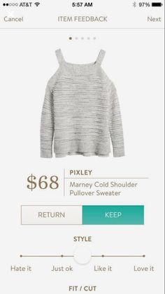 Stitch fix: Pixley, Marley cold shoulder pullover sweater