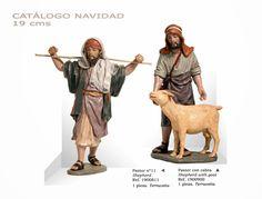 PASTOR Nº11 y PASTOR CON CABRA. Figuras de belén/pesebre, de terracota policromada, de 19 cm. Autor José Luis Mayo Lebrija.