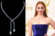 Sophie Turner, who plays Sansa Stark on Game of Thrones, wore a crossover necklace with pear- and oval-shaped diamonds set in platinum.